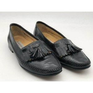 BRUNO MAGLI Mens Shoes Black Kilt Moc Toe Loafers